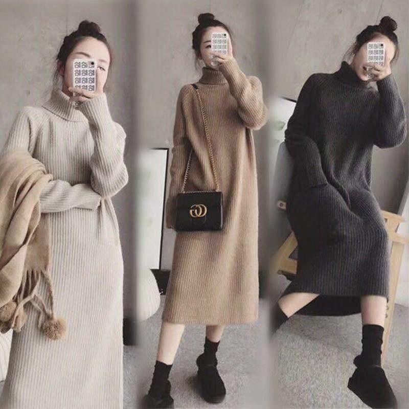Váy Len Oversized Màu Basic Váy Len Dáng Rộng Tay Trùm Váy Len Cổ Lọ Có Cổ  Cao Ấm Áp   Shopee Việt Nam