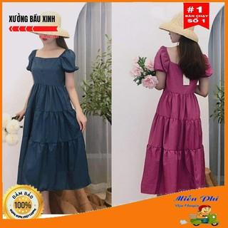 [ Mã FADIRECT20 giảm 20K đơn 150K] Váy bầu thời trang thiết kế M145 chất lụa hàn freesize từ 45 đến 70kg