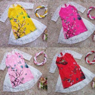 Set Váy áo dài cách tân gồm: Áo+váy+mấn vải ren gấm cho bé gái