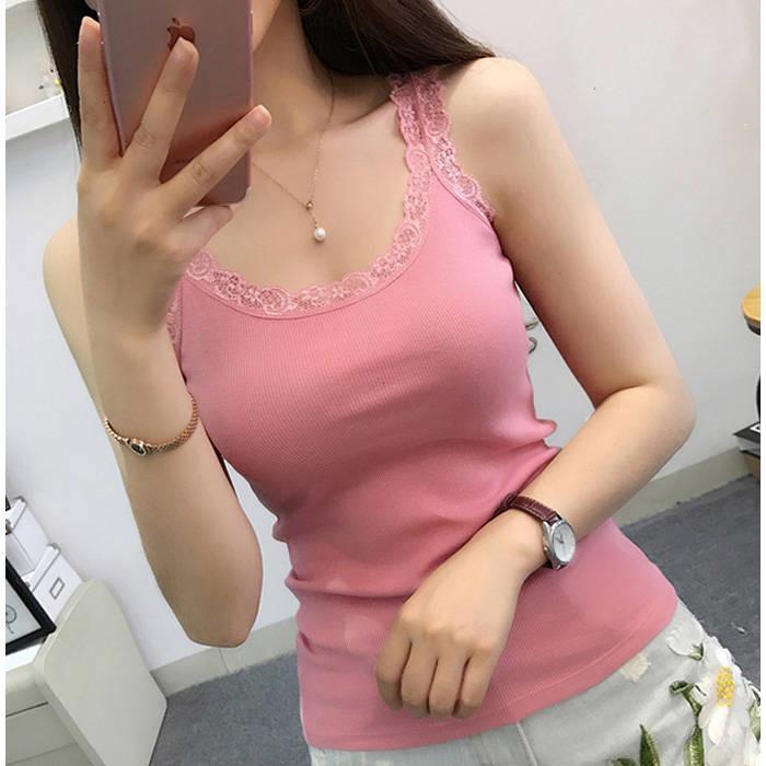 Áo ba lỗ nhiều màu thời trang phối ren quyến rũ cho nữ