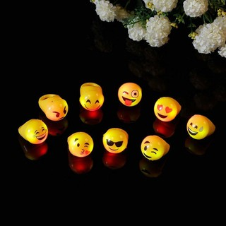 Emoji Smile Face Lighting Toy LED Color Flash Latex Ring For Party Kid Gift H