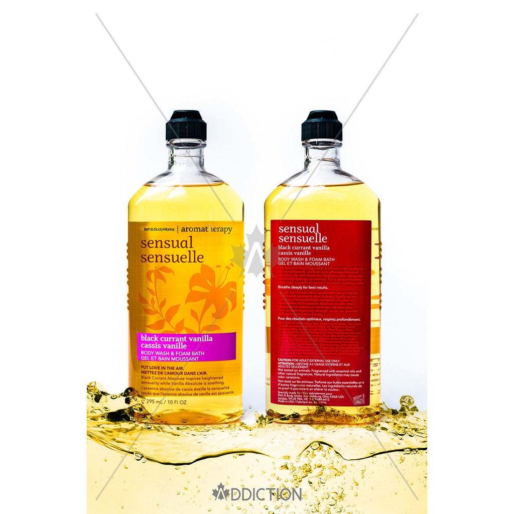 Tắm thư giãn Black Currant Vanilla - Bath & Body Works Aromatherapy (295ml)