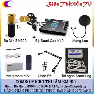 Combo bộ micro thu âm BM900 k10 tai nghe hộp Ma1 chân dây 3.5 màng