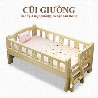 Giường Em Bé Quây 4 Mặt Có Cầu Thang Gỗ Thông Cao Cấp 150*70*40