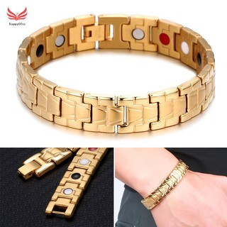 HL Men Titanium Steel Bracelet Radiation Protecting Magnet Bracelets for Business Travel