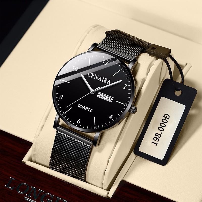 Đồng hồ nam Crnaira CR05 chính hãng, siêu mỏng chỉ 7mm ( Tặng kèm vòng tỳ hưu, tháo mắc)