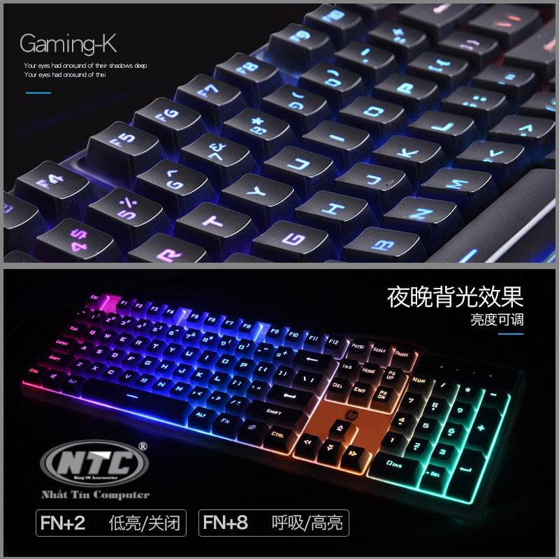 Bàn phím giả cơ HP K300 led đa màu-phím cao chống nước, bấm cực êm