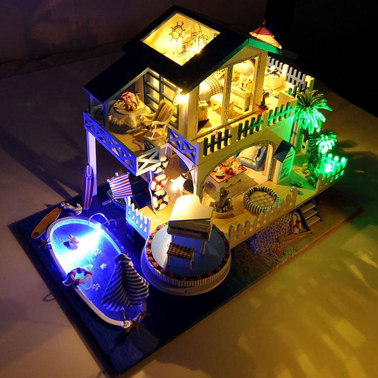HW DIY Miniature Pretend Play Romantic Style Wooden Dollhouse Set for Kids