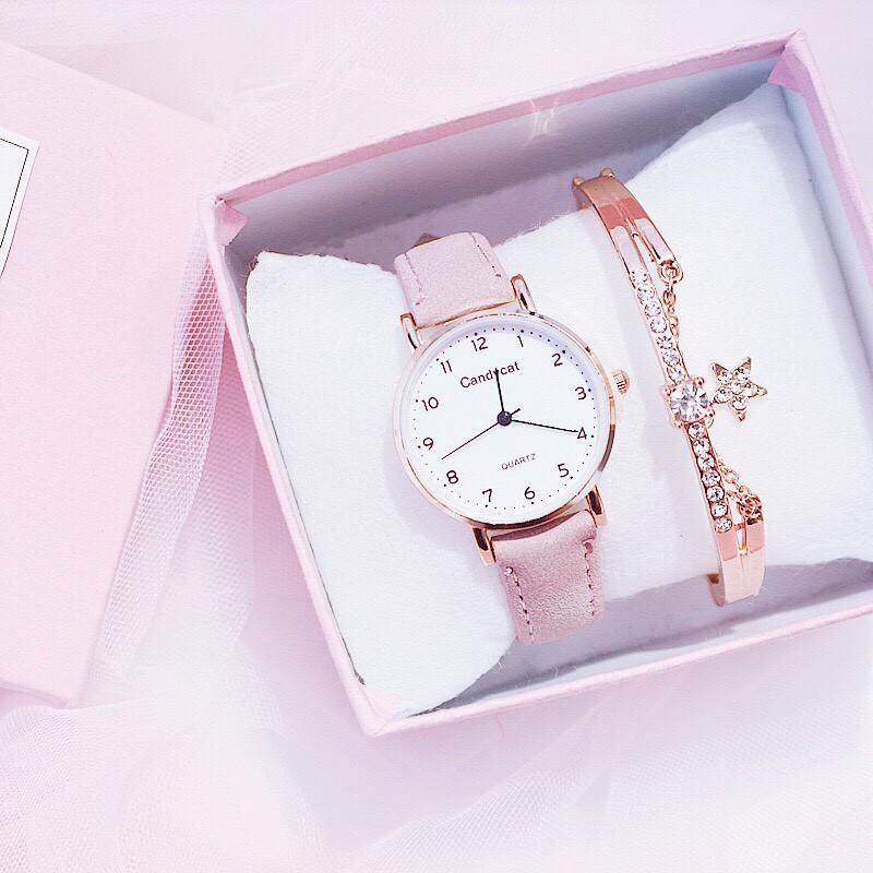 Đồng hồ thời trang nữ Candycat mặt số dây da nhung J44