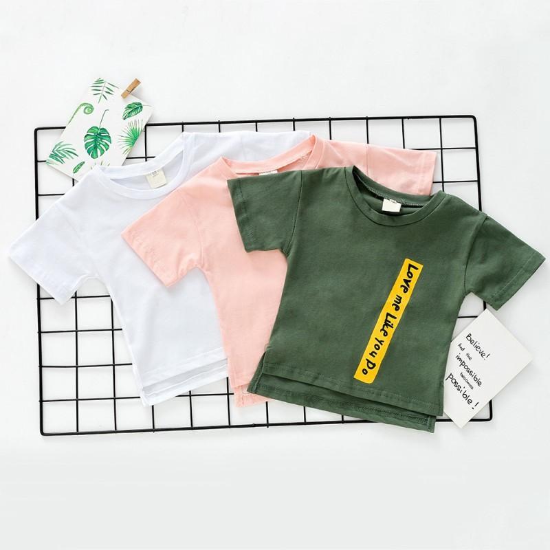 ♕ babyme ღ Kids Boys Girls Short Sleeve Child Letter Print Cotton T-shirt