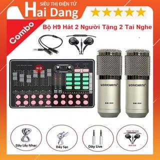 Bộ Hát Livestream Karaoke, 2 Người Hát Song Ca - Combo Micro Thu Âm BM 900 Sound Card H9 - Tặng 2 Tai Nghe AKG -S10 thumbnail