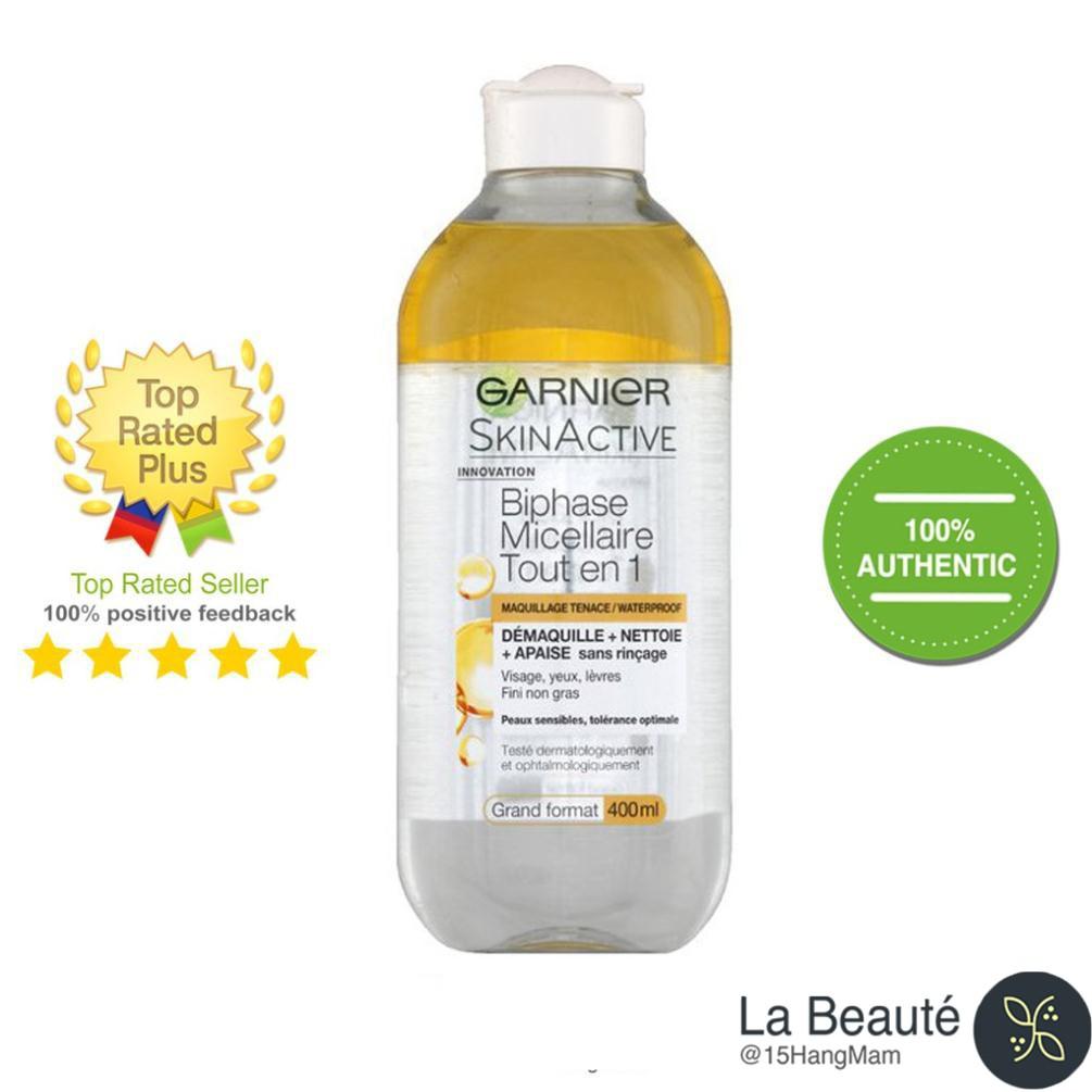 Garnier Skin Active Biphase Micellaire Tout En 1- Tẩy trang dạng dầu dành cho da trang điểm nhẹ 400ml