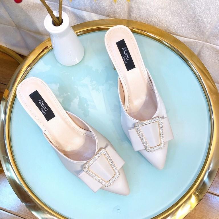 Giày sục nữ, giày cao gótnữ đế vuông thời trang, mũi nhọn hở gót da bóng, gót cao 5p