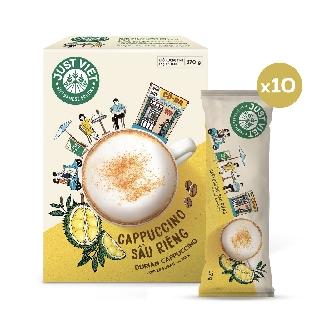 Cà Phê Cappuccino Sầu Riêng Just Viet – Đúng Điệu Gu Việt – Sánh Đậm Tự Nhiên – Hộp 10 gói x 17g