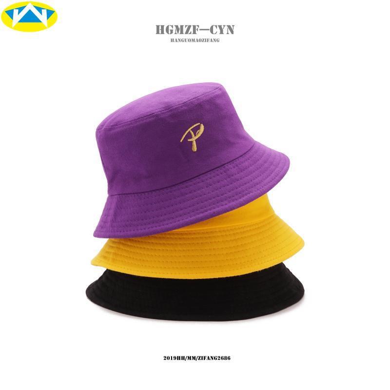หมวกฤดูใบไม้ผลิและฤดูร้อนของผู้ชายหมวกบังแดดเกาหลี P จดหมายเย็บปักถักร้อยฮิปฮอปชาวประมงหมวกหญิงที่เรียบง่ายป่าพับหมวกถ้ว