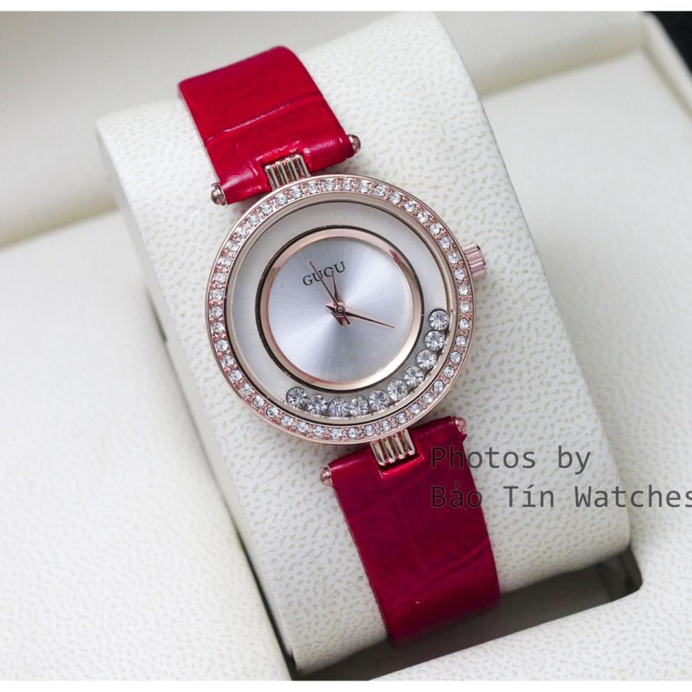 (FREESHIP) Đồng hồ nữ dây da cao cấp GUOU G2018 ĐÁ CHẠY sang trọng
