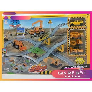 Hộp đồ chơi cao cấp đường ray lắp ráp công trường gồm xe hơi, xe nâng, xe xúc, xe cẩu và 50 miếng lắp ráp.