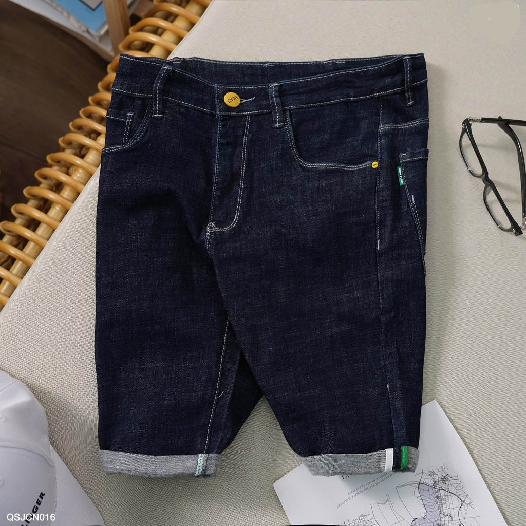 Quần sooc jean nam, quần xắn gấu màu xanh navy - QSJCN016