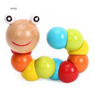 ♞Baby Kids Creative Colorful Twist Colored Insects Toy Wooden Educational Gift