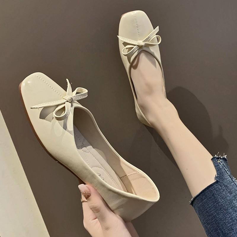 【จัดส่งฟรี】s สะดวกสบายรองเท้าด้านล่างนุ่มตักรองเท้าป่าเกาหลีน้อมรองเท้าแบนผู้หญิง