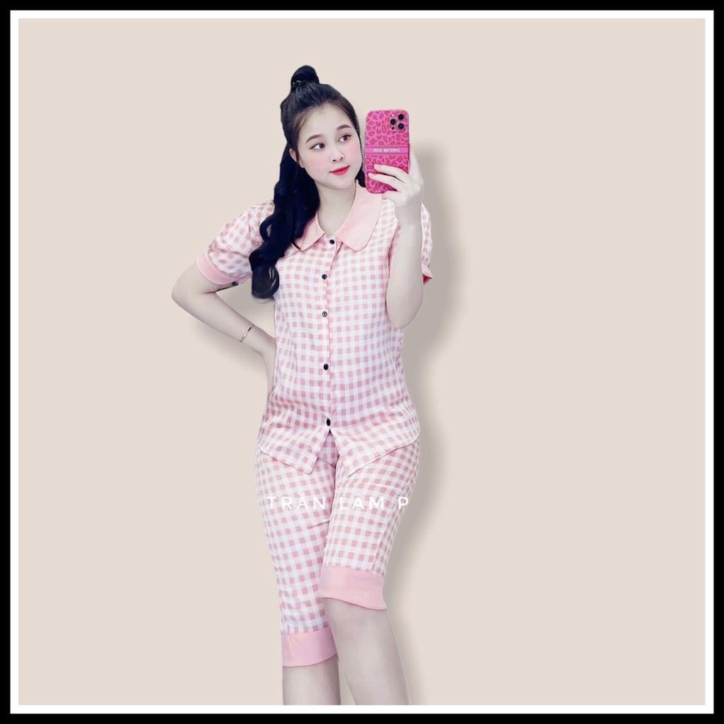 Đồ Bộ Pijama - Bộ Pizama Cộc Lửng Satin Siêu Hot Kèm Ảnh Thật