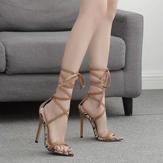 Giày sandal cao gót nữ đế da rắn phối dây quấn cổ chân - LInus LN310 thumbnail