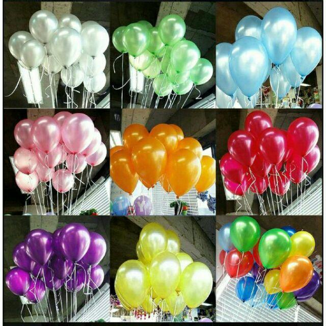 Bong bóng nhũ Thái Lan 10''(25cm) 25cái/bịch dày đẹp set bong bóng trang trí sinh nhật phụ kiện trang trí Happy birthday