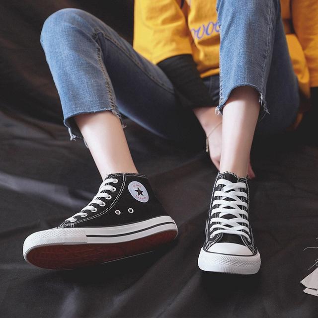 Giày thể thao cổ cao chất liệu canvas thời trang trẻ trung