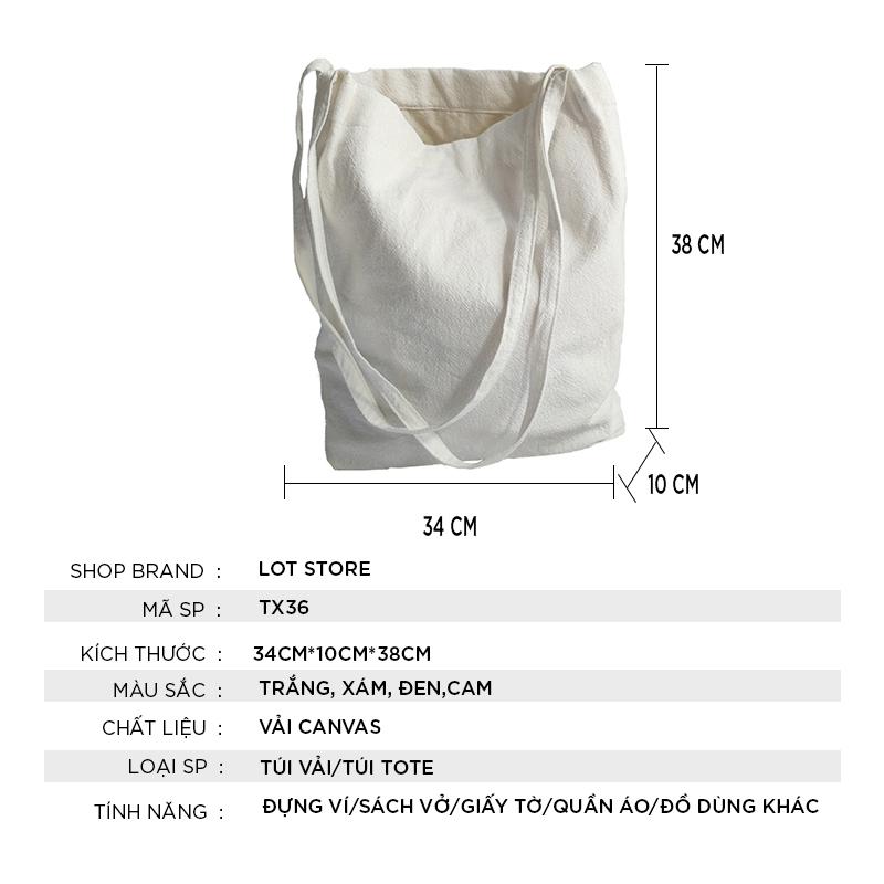 Túi tote vải đi học vải bố mềm đẹp vanvas giá rẻ TX36