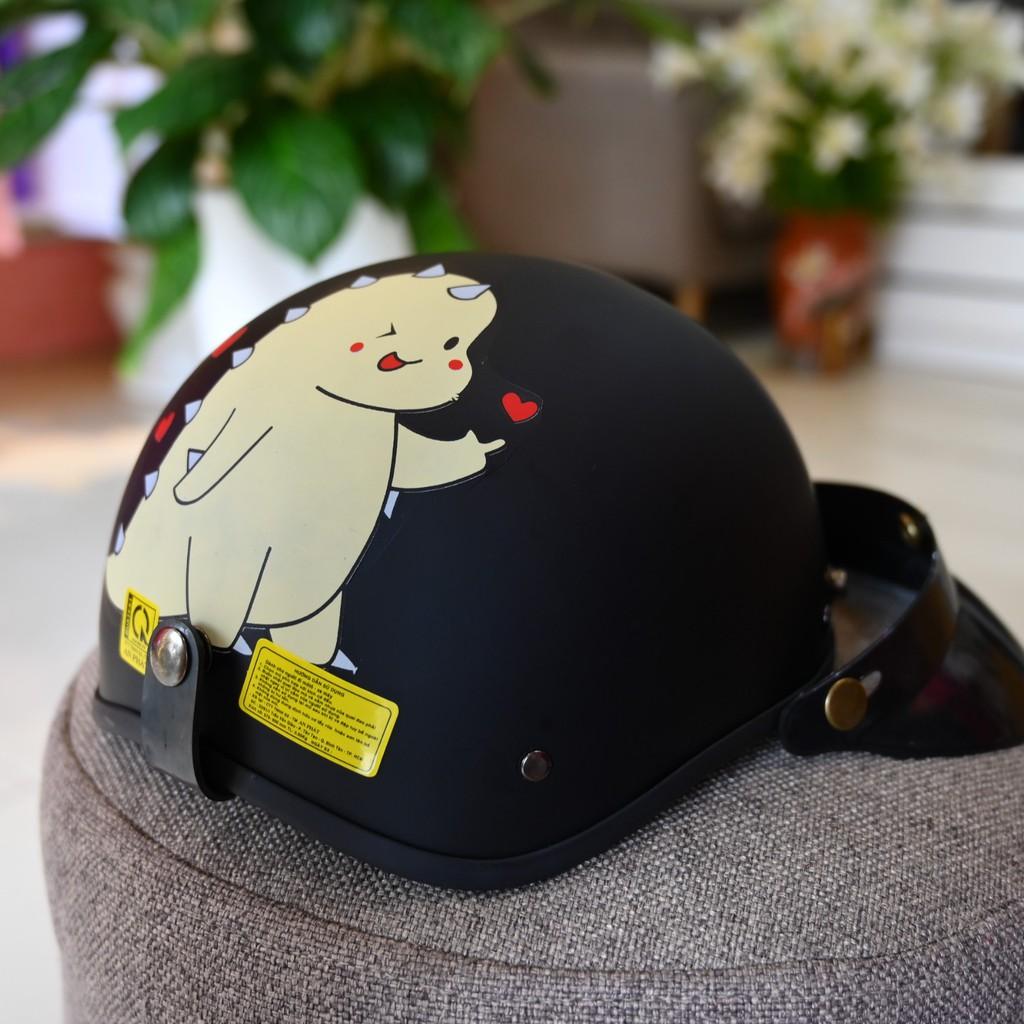 Mũ bảo hiểm 1/2 kèm mái nhiều tem cao cấp kèm Nón bảo hiểm nửa đầu FREE SIZE, AN TOÀN - THỜI TRANG - PHONG CÁCH