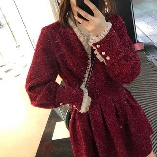 2021Korean Style New Spring Dress Elegant All-match FairyaWord Skirt Shiny High Waist Pleated Waist Hugging Skirt