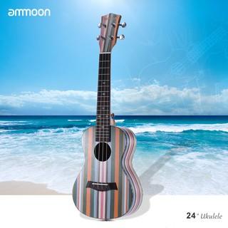 ammoon Colorized 24″ Acoustic Soprano Ukulele Ukelele Uke Wooden 18 Frets 4 Strings Okoume Neck Rosewood Fingerboard Str