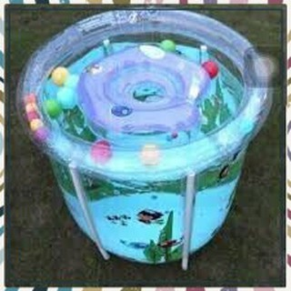 (Siêu Hấp Dẫn)Set bể bơi siêu bền phao hình tròn kèm phao cổ, bơm chân cho bé sơ sinh