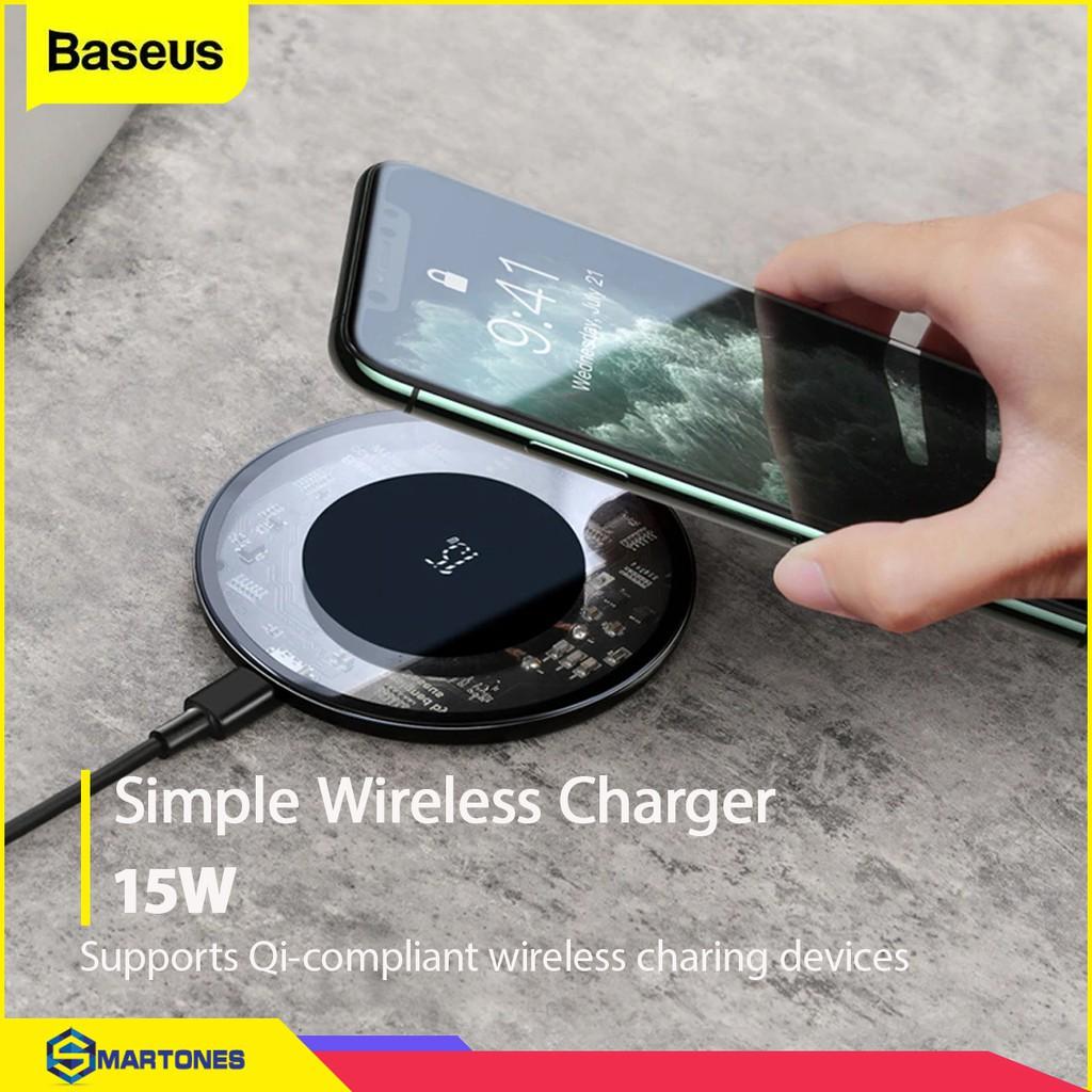 Bộ đế sạc không dây Baseus Simple V2 sạc nhanh công suất 15W , hỗ trợ chuẩn  sạc Qi cho iPhone , Airpods Samsung..