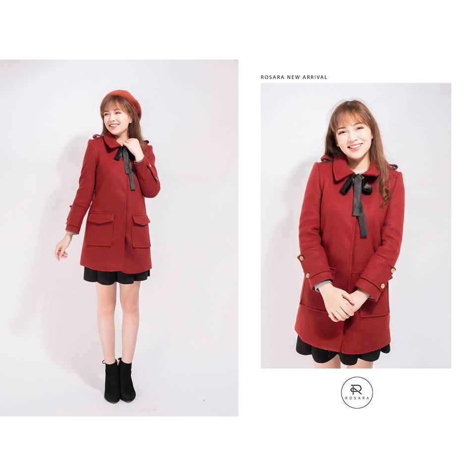 Áo dạ đỏ dáng dài cổ nơ