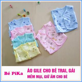 Áo Gile trần bông ấm áp in họa tiết cho bé trai, bé gái từ 3-9kg