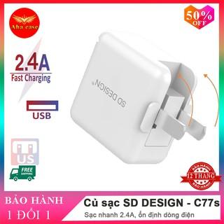 Củ sạc nhanh chính hãng SD DESIGN C77s Chân Gập 90 độ tương thích với các thiết bị điện thoại iPhone, Samsung, Xiaomi thumbnail