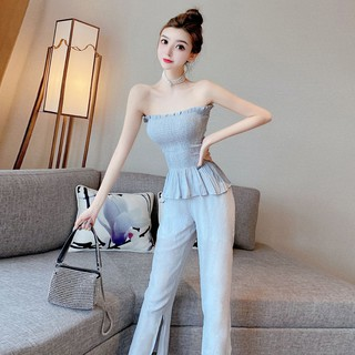 2020 summer new sexy slim western design tube top off shoulder fold top split trousers two-piece suit