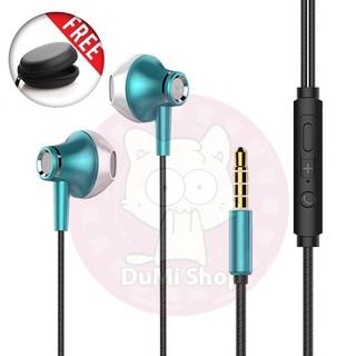Tai nghe có dây cao cấp L9 có mic, dây siêu bền, khuyến mãi tặng hộp đựng + nút tai