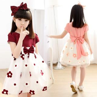 Princess dress is made of satin + sweet short sleeve chiffon for girls