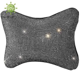Car Headrest Support Neck Pillow with Bling Bling Diamonds,White