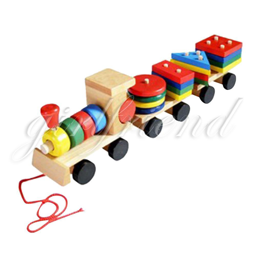 Wooden Geometric Shaped Train Toys 3Sections Puzzle Stack Kids Educational Gifts