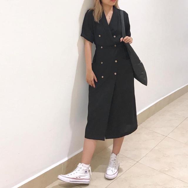 Đầm Đen Tilly Dress thiết kế đơn giản from suông chuẩn - váy dáng dài có túi cổ vest chữ V eo có bo chun co giãn