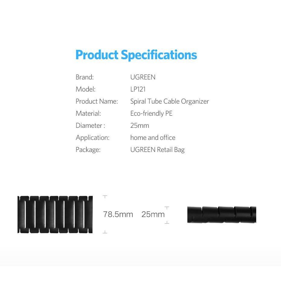 Dây dạng ống xoắn PE bảo vệ các loại dây cáp dài 1.5m UGREEN LP121 30818