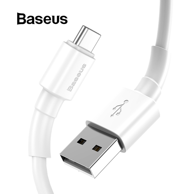Dây cáp hiệu Baseus rẻ và tốt dành cho điện thoại iPhone/thiết bị cổng type C/cổng micro USB màu trắng dài 1m