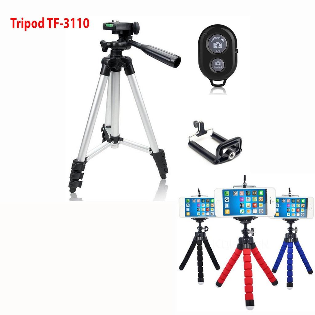 Combo 1 Chân giá đỡ máy chụp ảnh Tripod TF3110 + 2 Miếng kẹp điện thoại + 1 Giá đỡ Bạch Tuộc