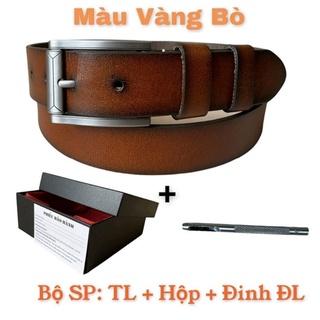 Thắt Lưng_Dây Nịt Nam Da Bò Cao Cấp Nguyên Tấm TMK14 💥GÍASIÊURẼ💥Dây Nịt Nam Khóa Kim Không Rĩ