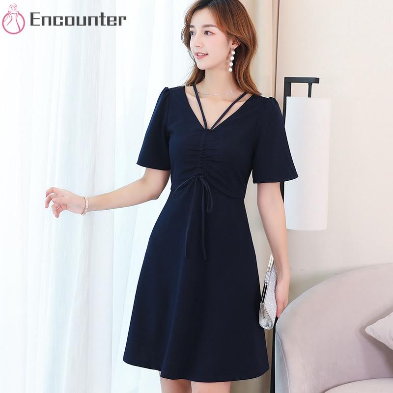 Đầm tay ngắn màu trơn phong cách Hàn Quốc