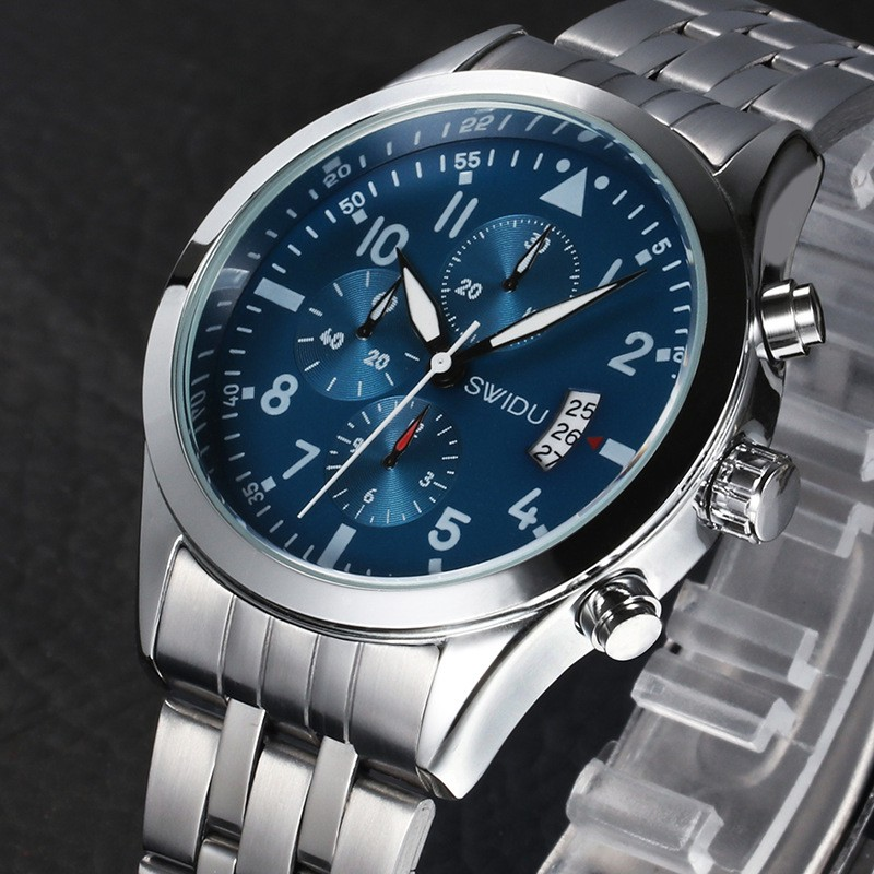 Đồng hồ nam SWIDU S8111 dây hợp kim thép cao cấp + Tặng vòng tay cao cấp