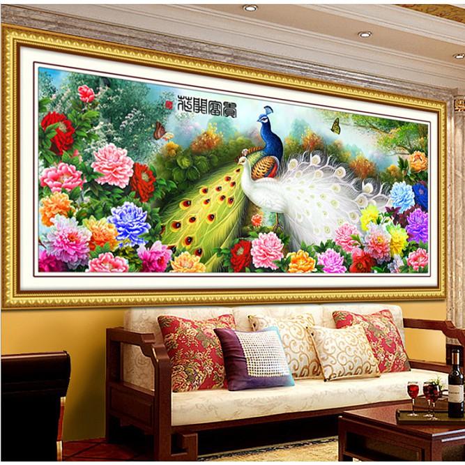 """Tranh cườm phong thủy đôi chim công """"Mãi mãi bên nhau"""" khổ 127 x 54cm"""